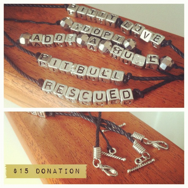 Please support our Pit Bull rescue by donating $15 for a bracelet!